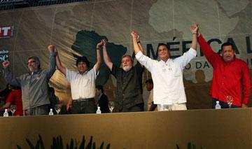 Paraguay's Fernando Lugo, Bolivia's Evo Morales, Brazil's Lula, Ecuador's Rafael Correa, & Venezuela's Hugo Chavez