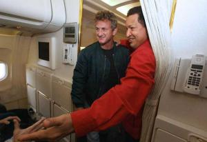 """Chavez welcomes actor and director Sean Penn aboard the presidential plane"""