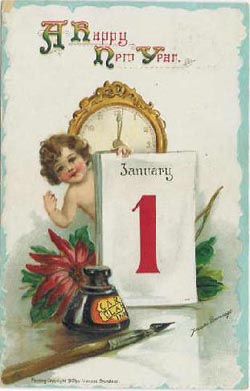 Brundage-New-Year-Vintage-Postcard